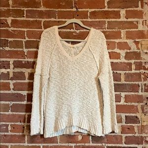 Free People cream v-neck sweater